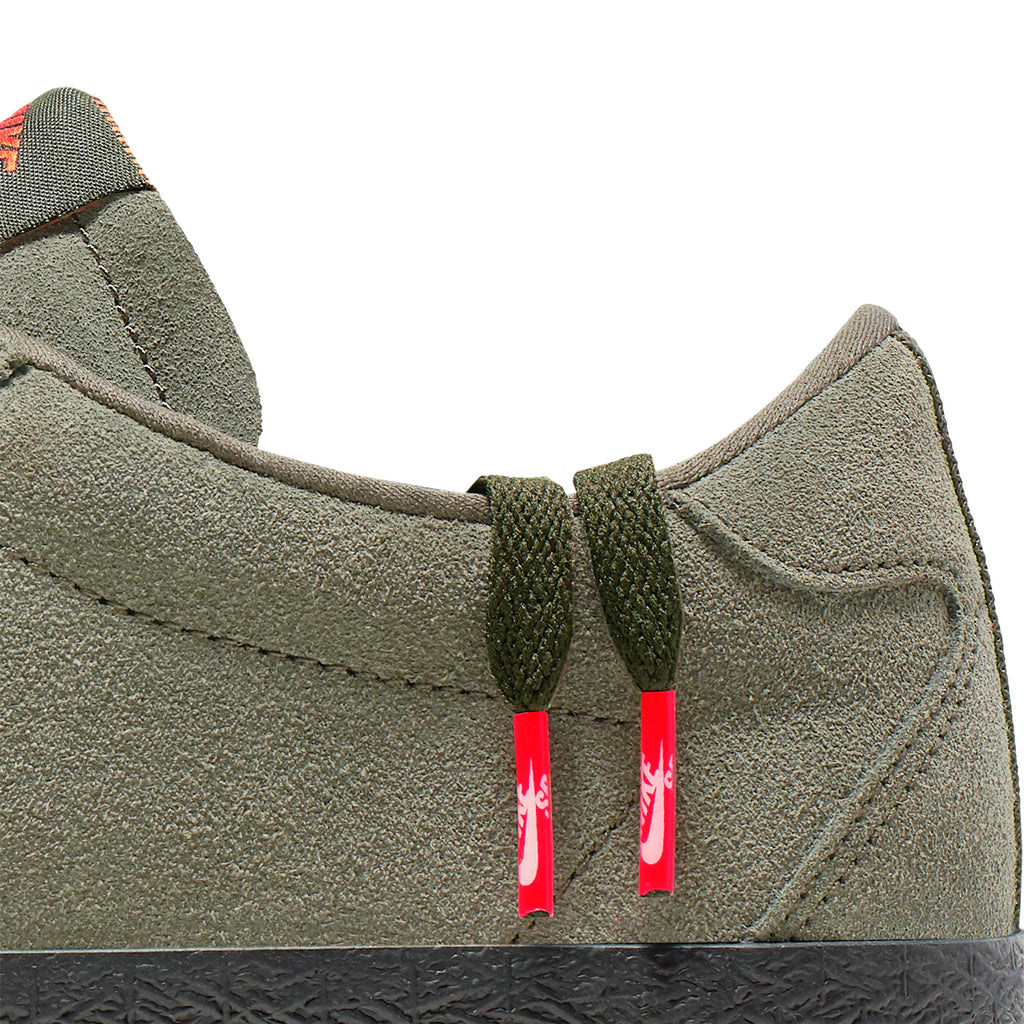 Nike SB Orange Label Ishod Wair Zoom Bruin Shoes in Sequoia / Medium Olive - Safety Orange - Laces