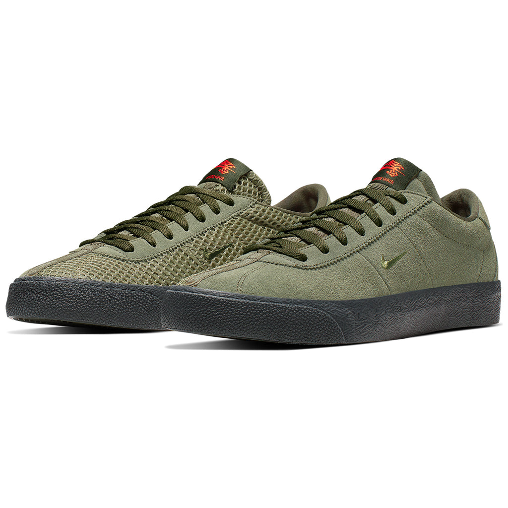 Nike SB Orange Label Ishod Wair Zoom Bruin Shoes in Sequoia / Medium Olive - Safety Orange - Pair