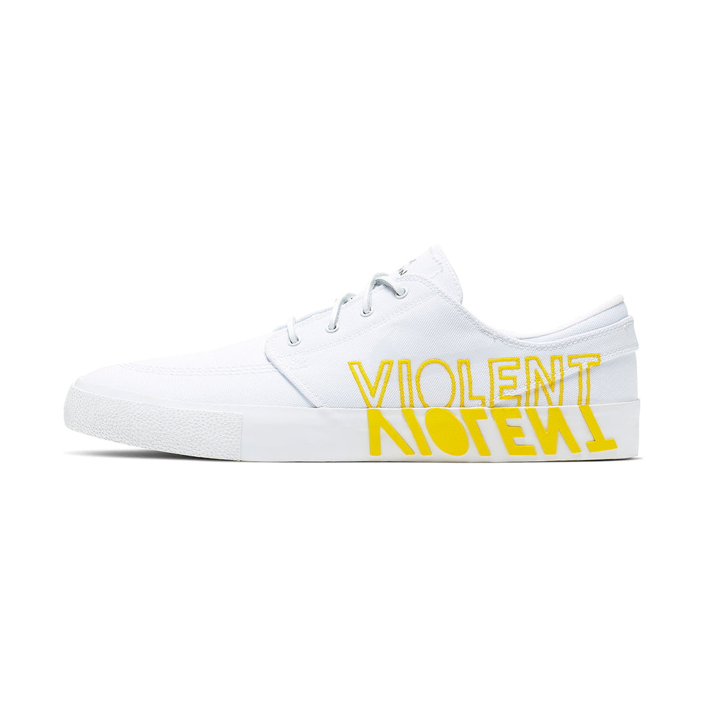 Nike SB Zoom Janoski RM x Violent Femmes Shoes in White / Clear - White - Tour Yellow - Second Side