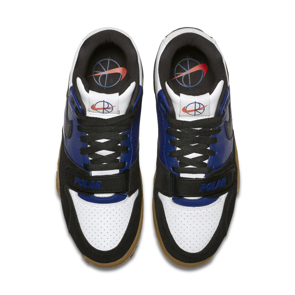 Nike SB x Polar Skate Co Air Trainer 1 Shoes in Black / Black - Deep Royal Blue - Summit White - Top