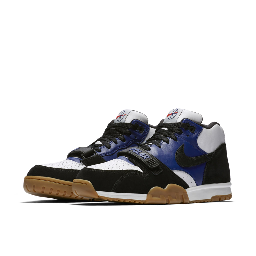 Nike SB x Polar Skate Co Air Trainer 1 Shoes in Black / Black - Deep Royal Blue - Summit White - Pair