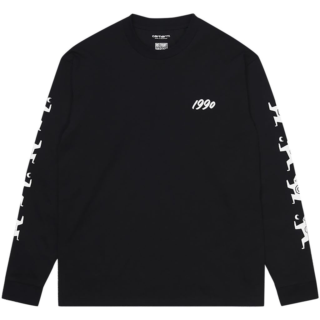 Carhartt WIP Relevant Parties L/S Ninja Tune T Shirt Black / White - Front