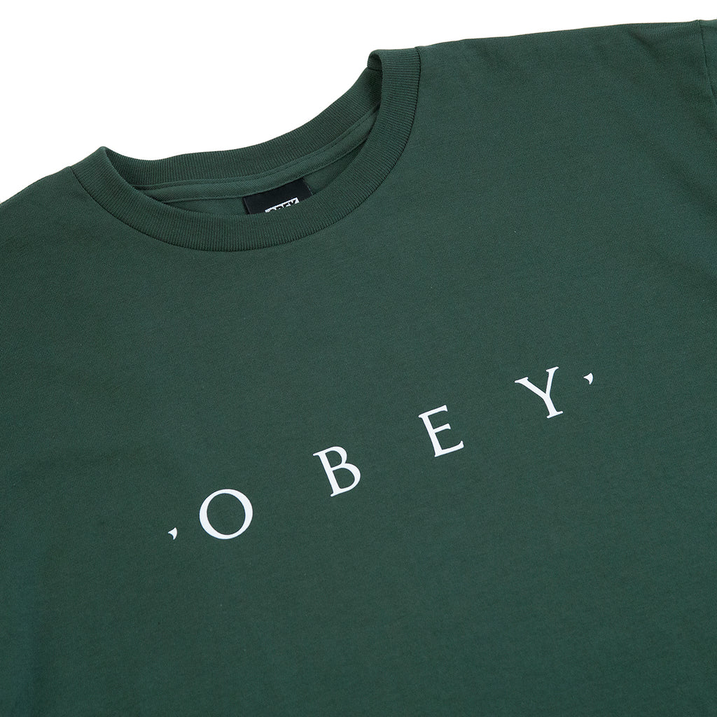 Obey Clothing Novel Obey T Shirt in Forest Green - Detail