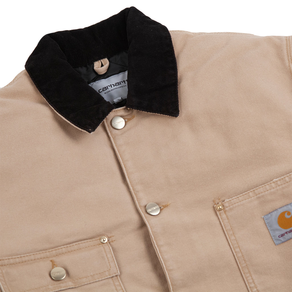 Carhartt WIP OG Chore Coat in Dusty H Brown - Collar