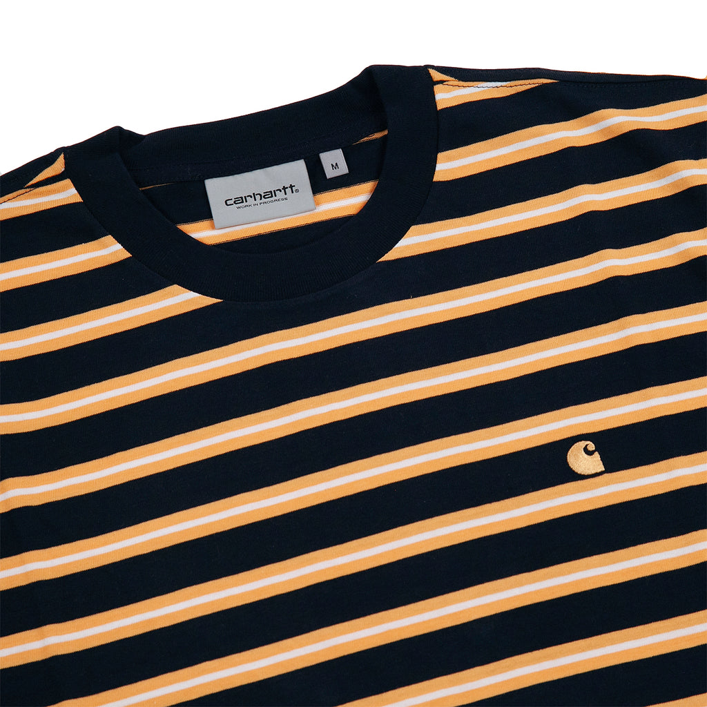 Carhartt WIP Oakland T Shirt in Dark Navy / Pop Orange - Detail