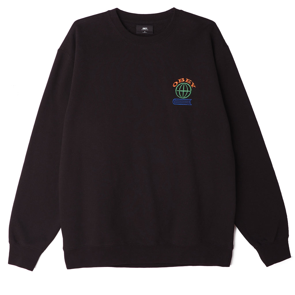 Obey Knowledge Crew Sweatshirt in Black - Front