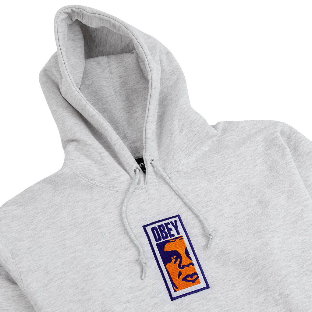Obey Clothing Slim Icon Hoodie in Ash Grey - Detail