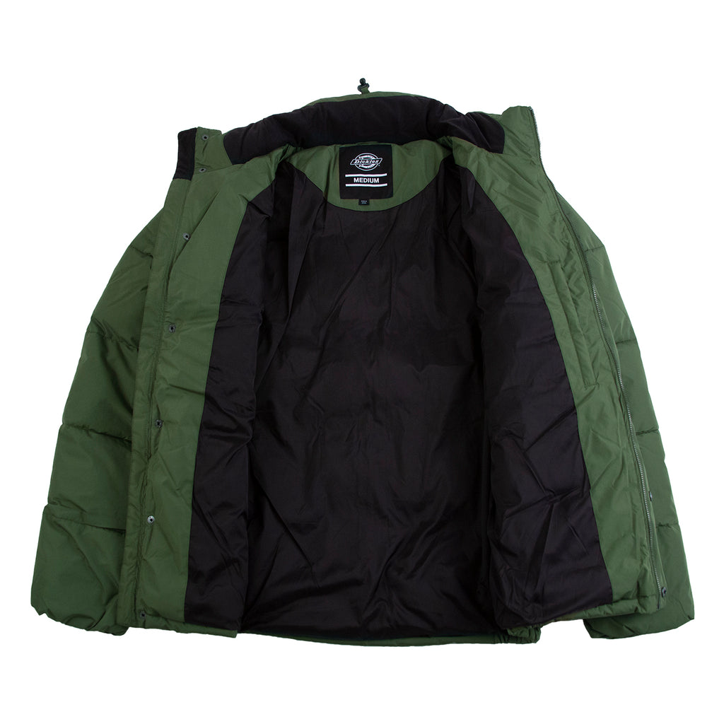 Dickies Olaton Jacket in Army Green - Open