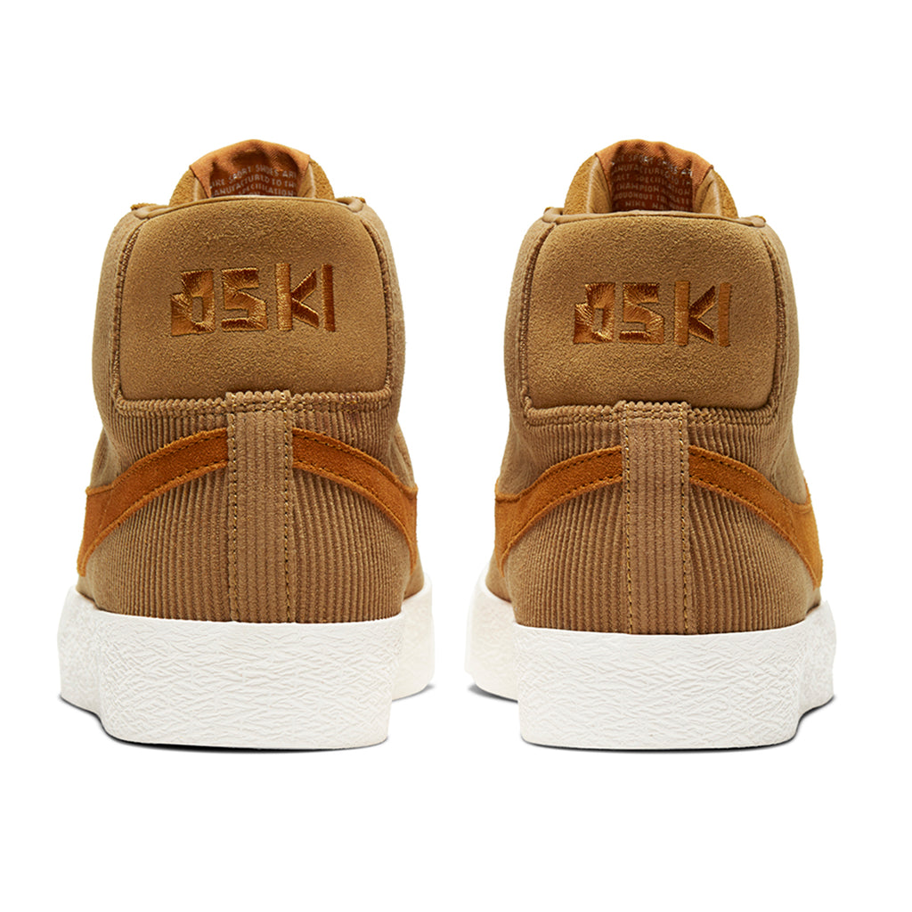 Nike SB Orange Label x Oski Zoom Blazer Mid Shoes in Muted Bronze / Burnt Sienna - Sail - Heel