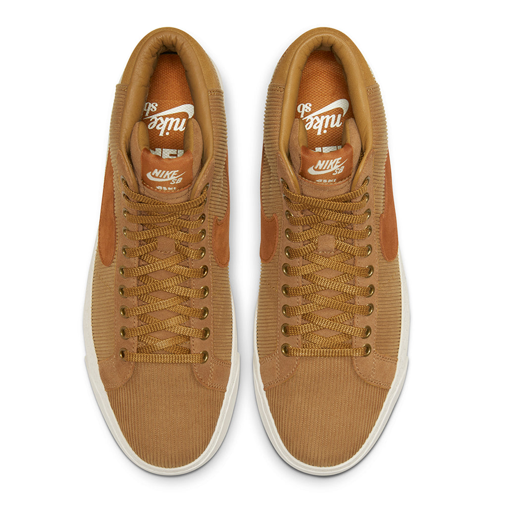 Nike SB Orange Label x Oski Zoom Blazer Mid Shoes in Muted Bronze / Burnt Sienna - Sail - Top