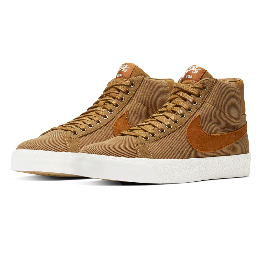 Nike SB Orange Label x Oski Zoom Blazer Mid Shoes in Muted Bronze / Burnt Sienna - Sail - Pair
