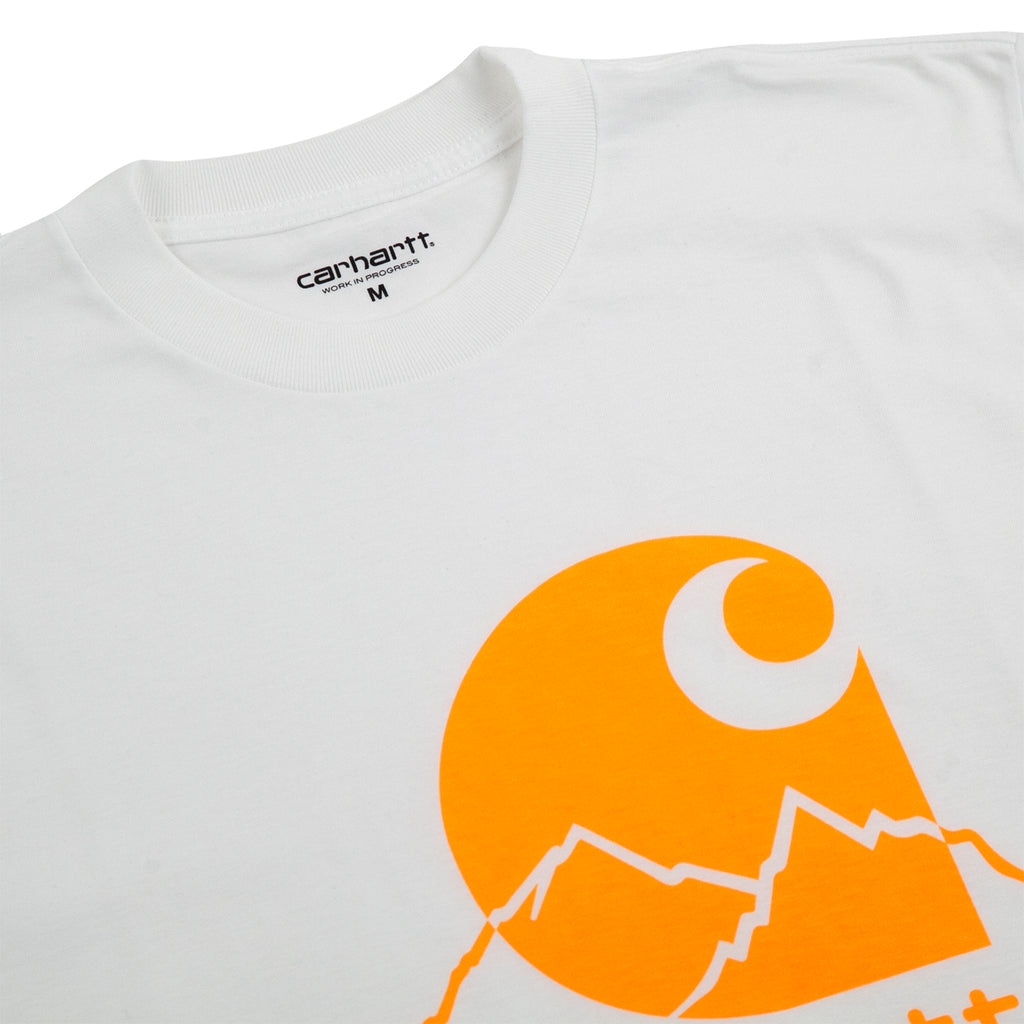 Carhartt WIP Outdoor C T Shirt in White / Pop Orange - Detail