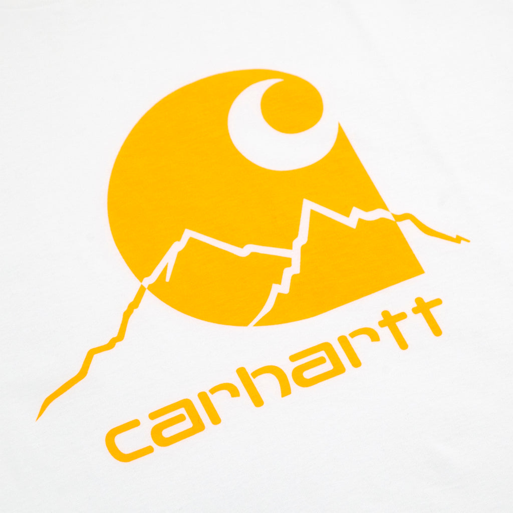 Carhartt WIP Outdoor C T Shirt in White / Pop Orange - Print