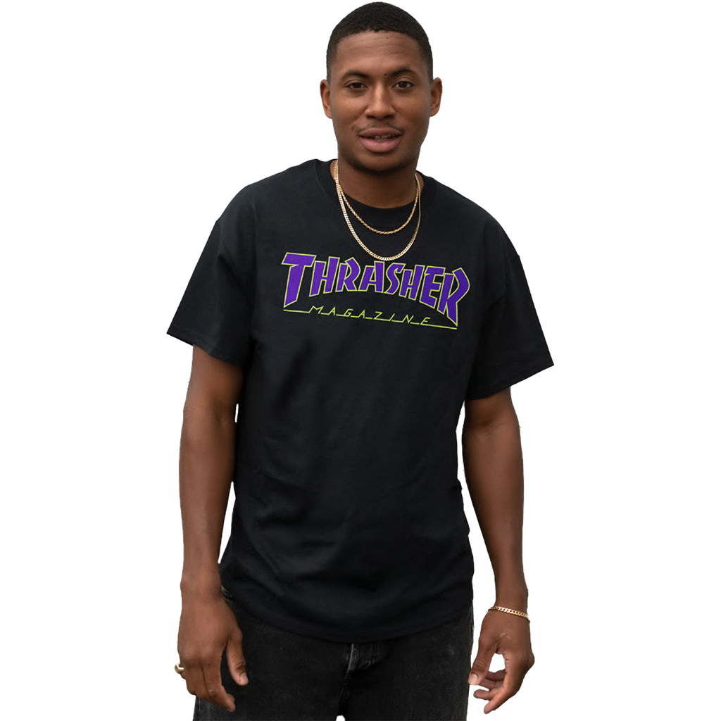 Thrasher Magazine Outline T Shirt in Black/Blue