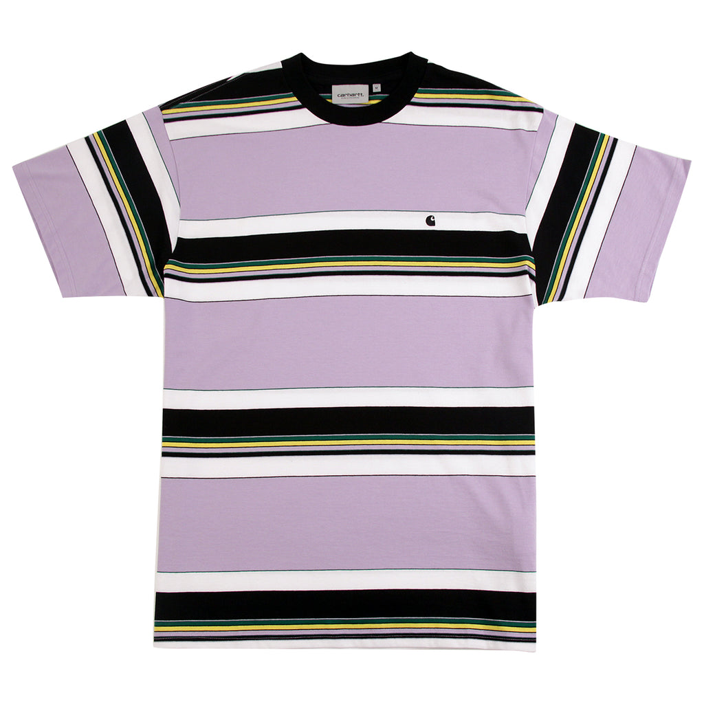 Carhartt Ozark T Shirt in Soft Lavender / Black Stripe