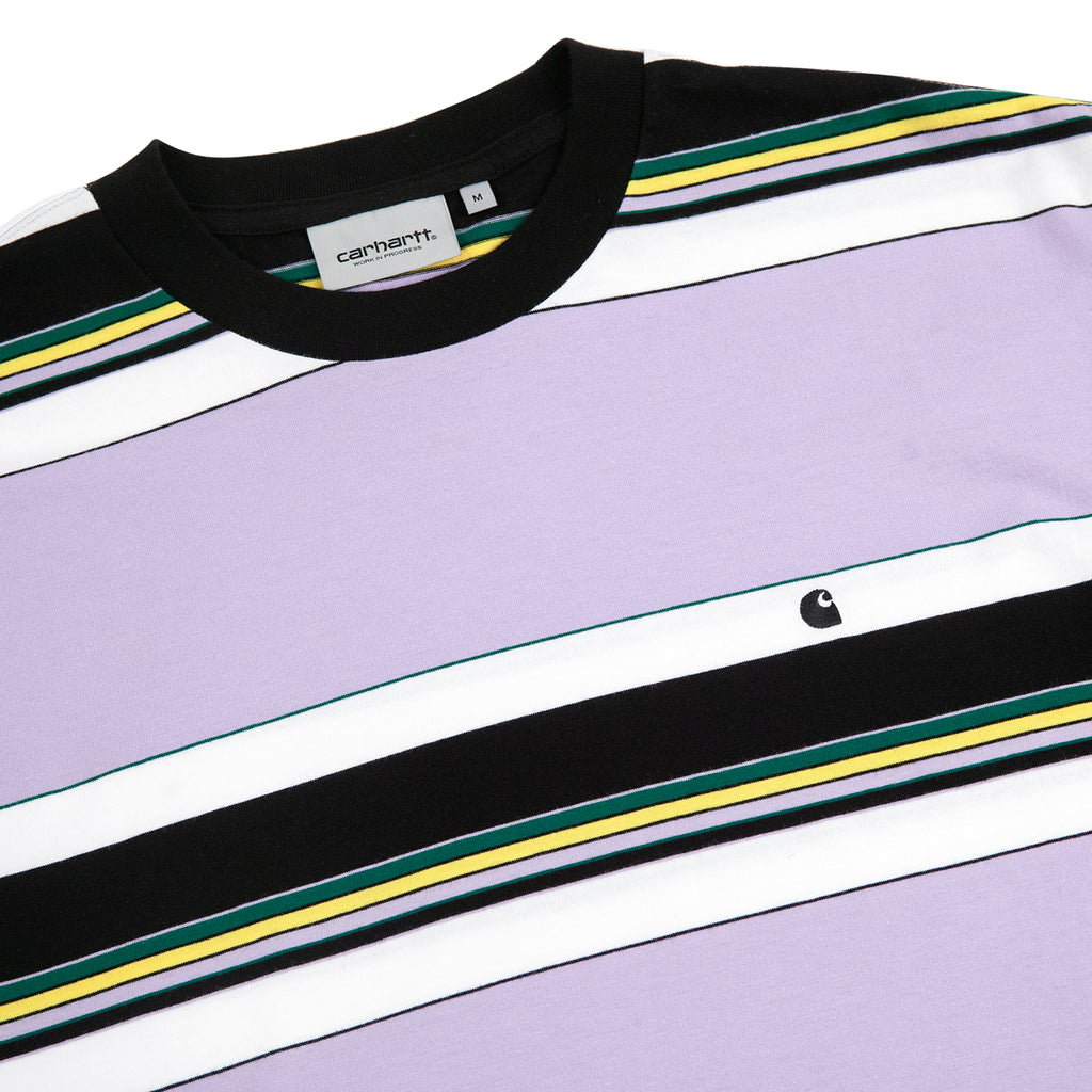 Carhartt Ozark T Shirt in Soft Lavender / Black Stripe - Detail