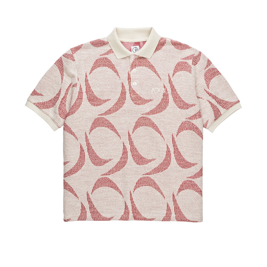 Polar Skate Co Pattern Polo Shirt in Ivory / Red