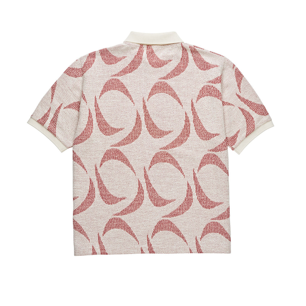 Polar Skate Co Pattern Polo Shirt in Ivory / Red - Back
