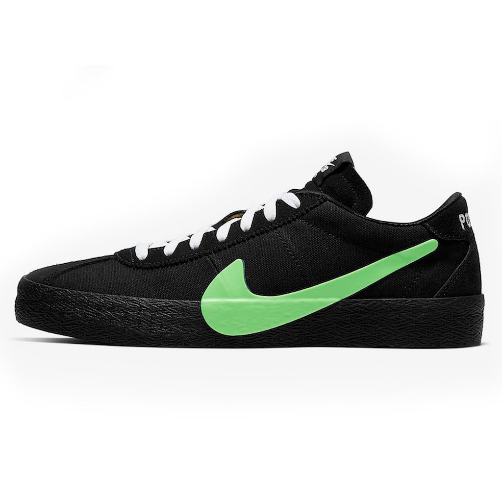 Nike SB x Poets Zoom Bruin QS Shoes in Black / Voltage Green - White - 2