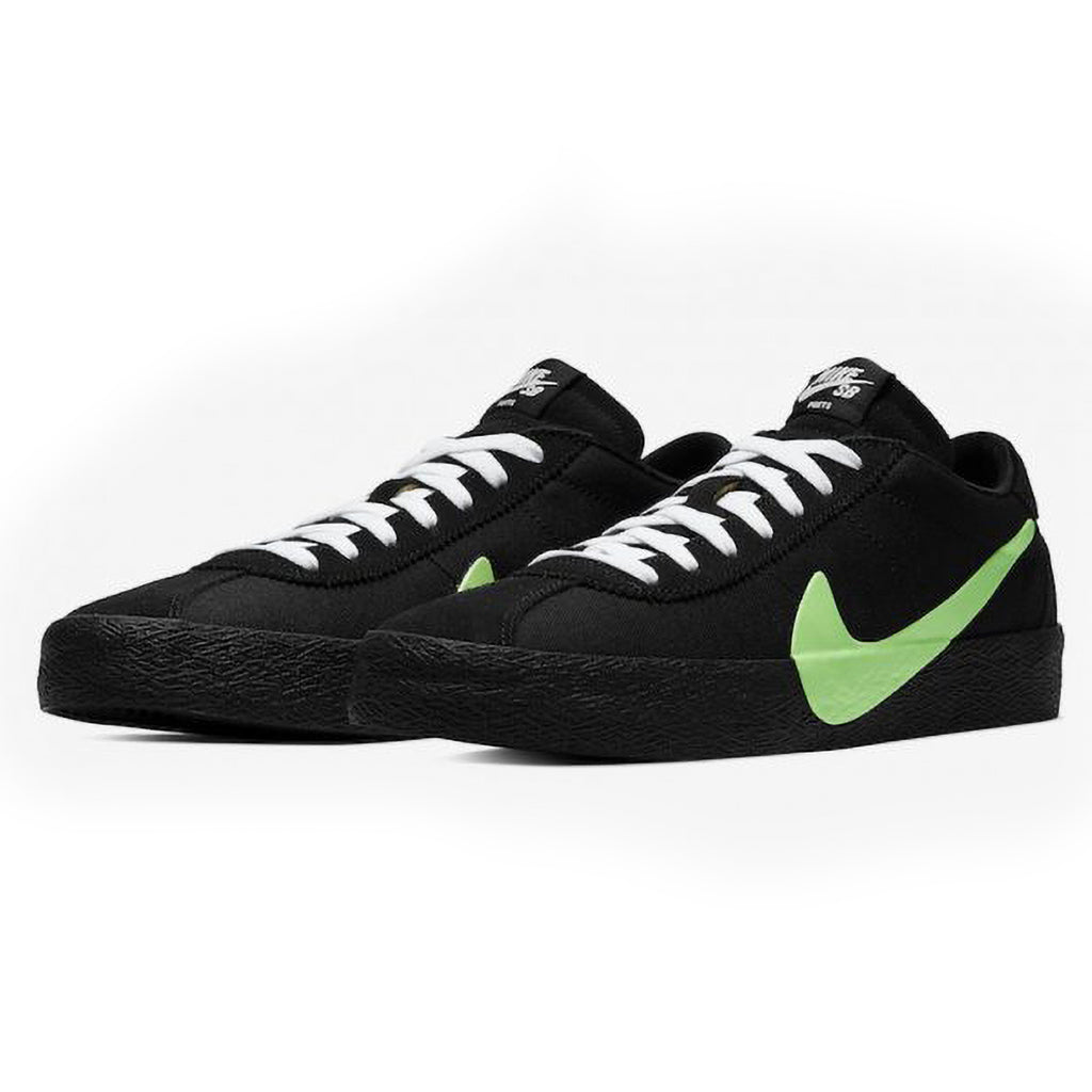 Nike SB x Poets Zoom Bruin QS Shoes in Black / Voltage Green - White - Side