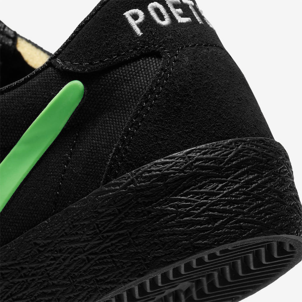 Nike SB x Poets Zoom Bruin QS Shoes in Black / Voltage Green - White - Heel 2