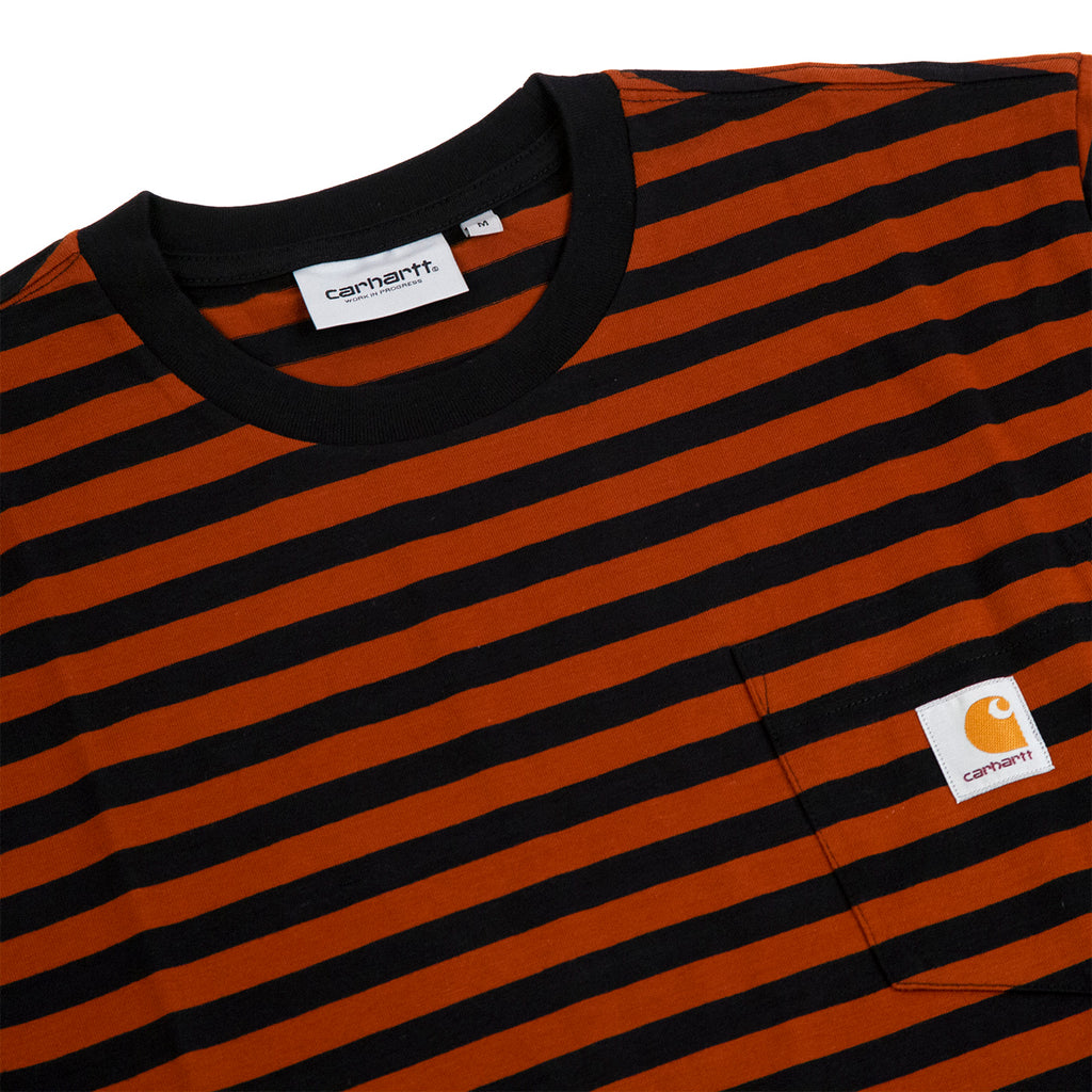 Carhartt WIP Parker Pocket T Shirt in Black / Brown - Detail