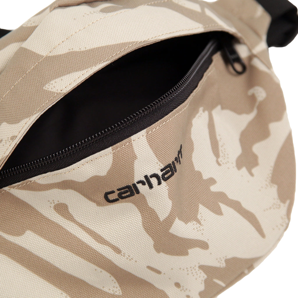 Carhartt Payton Hip Bag in Camo Brush Sandshell / Black- Unzipped