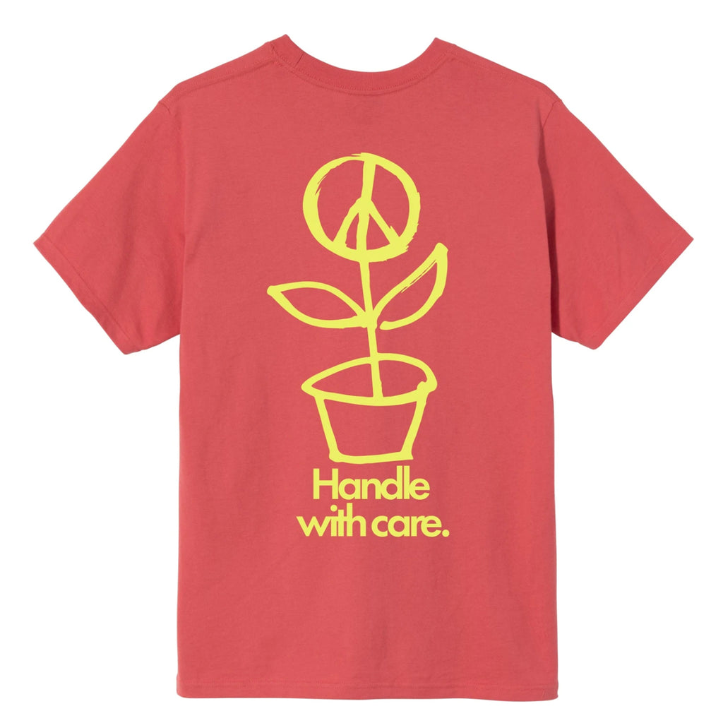 Stussy Peace Pot T Shirt in Pale Red