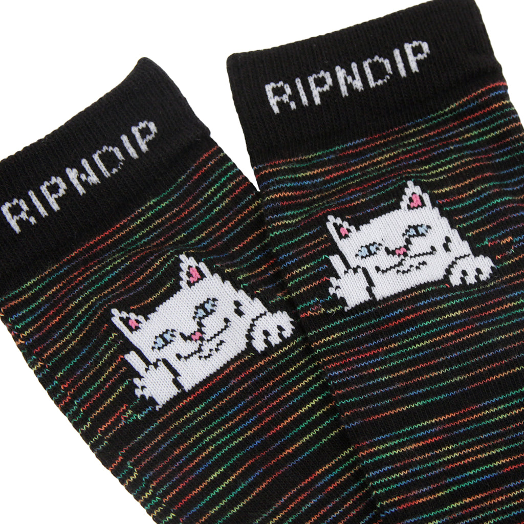 RIPNDIP Peeking Nermal Socks in Black Space Dye - Detail