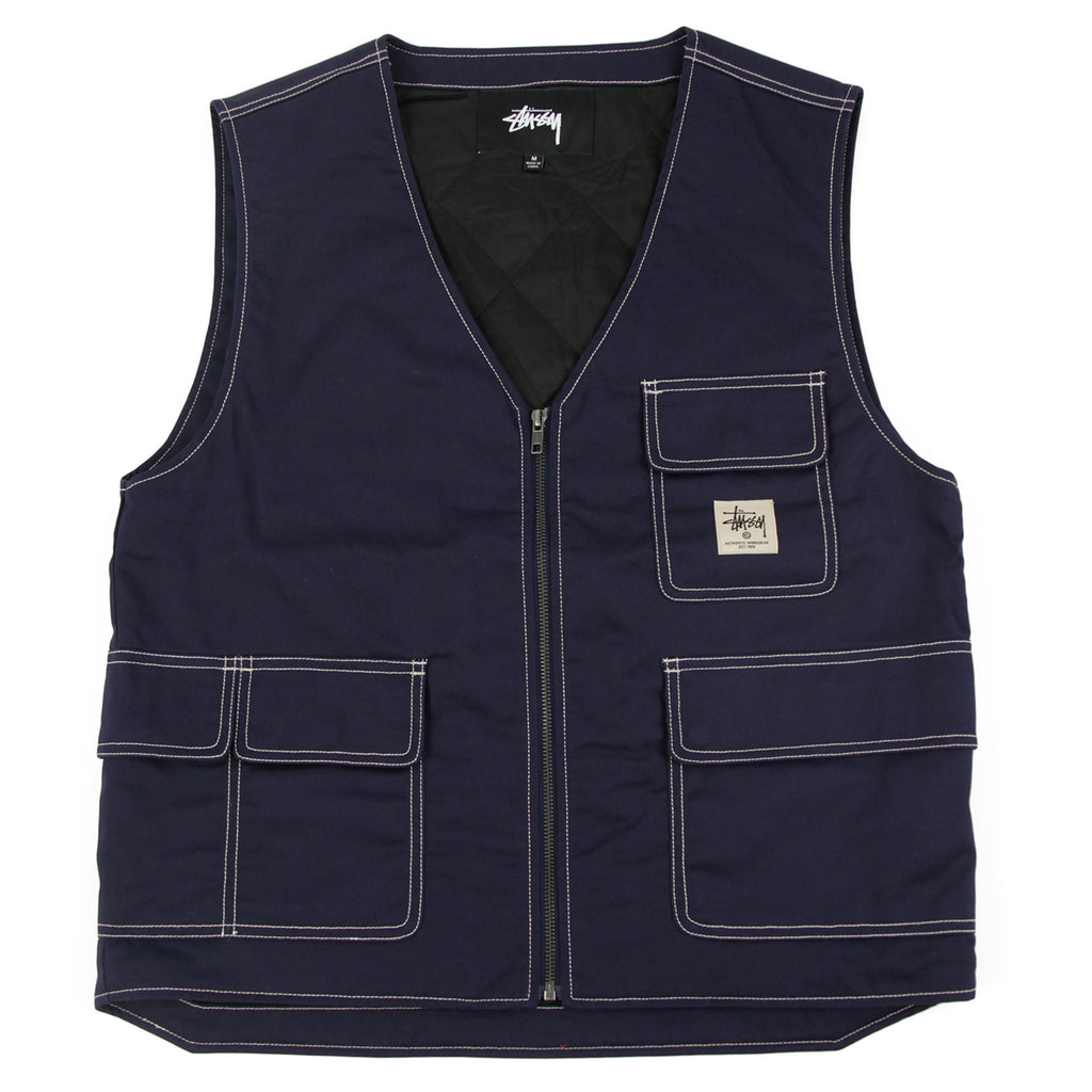 Stussy Poly Cotton Work Vest in Navy
