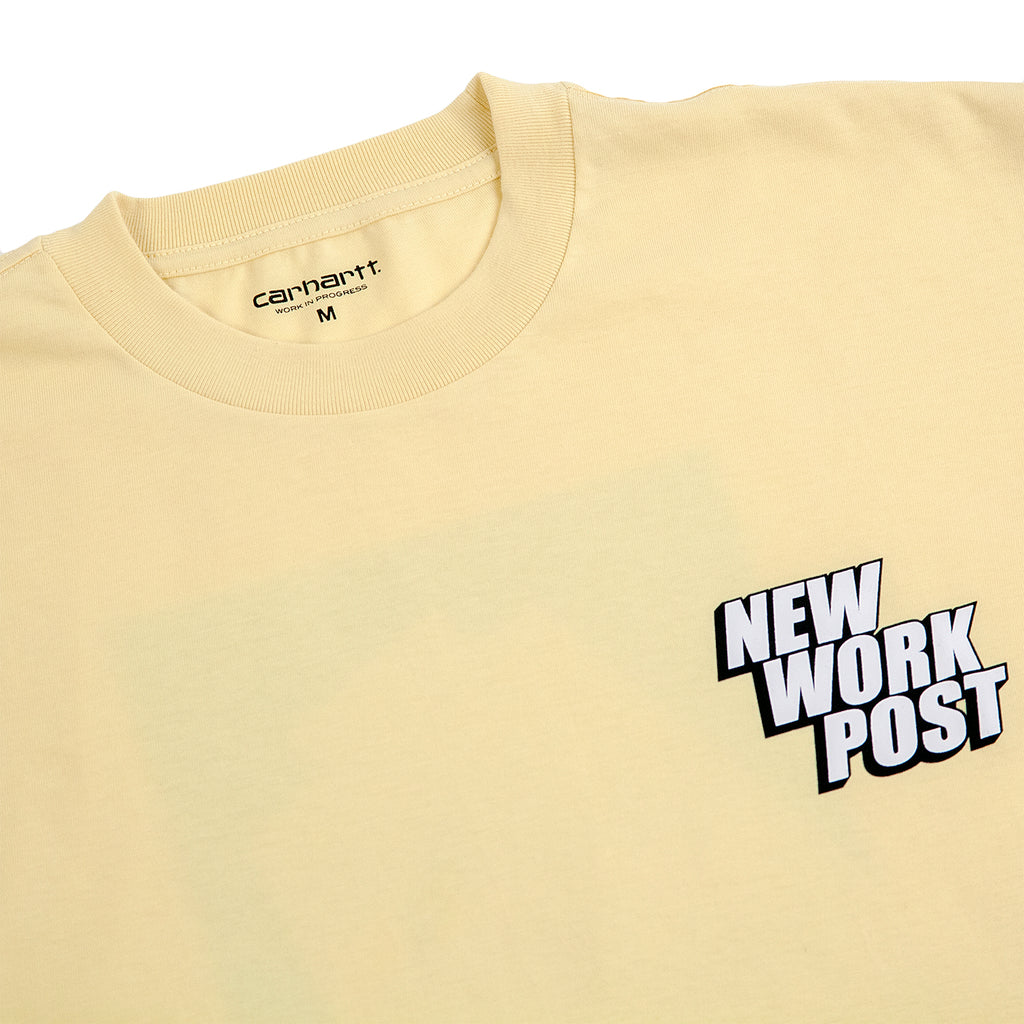 Carhartt WIP Post T Shirt in Pale Yellow - Detail
