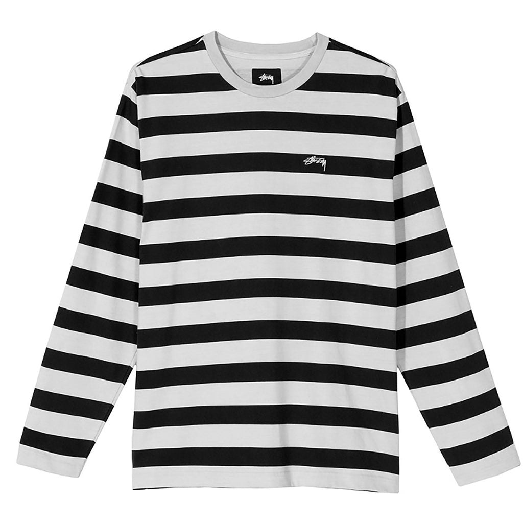 Stussy L/S Printed Stripe Crew T Shirt in Black