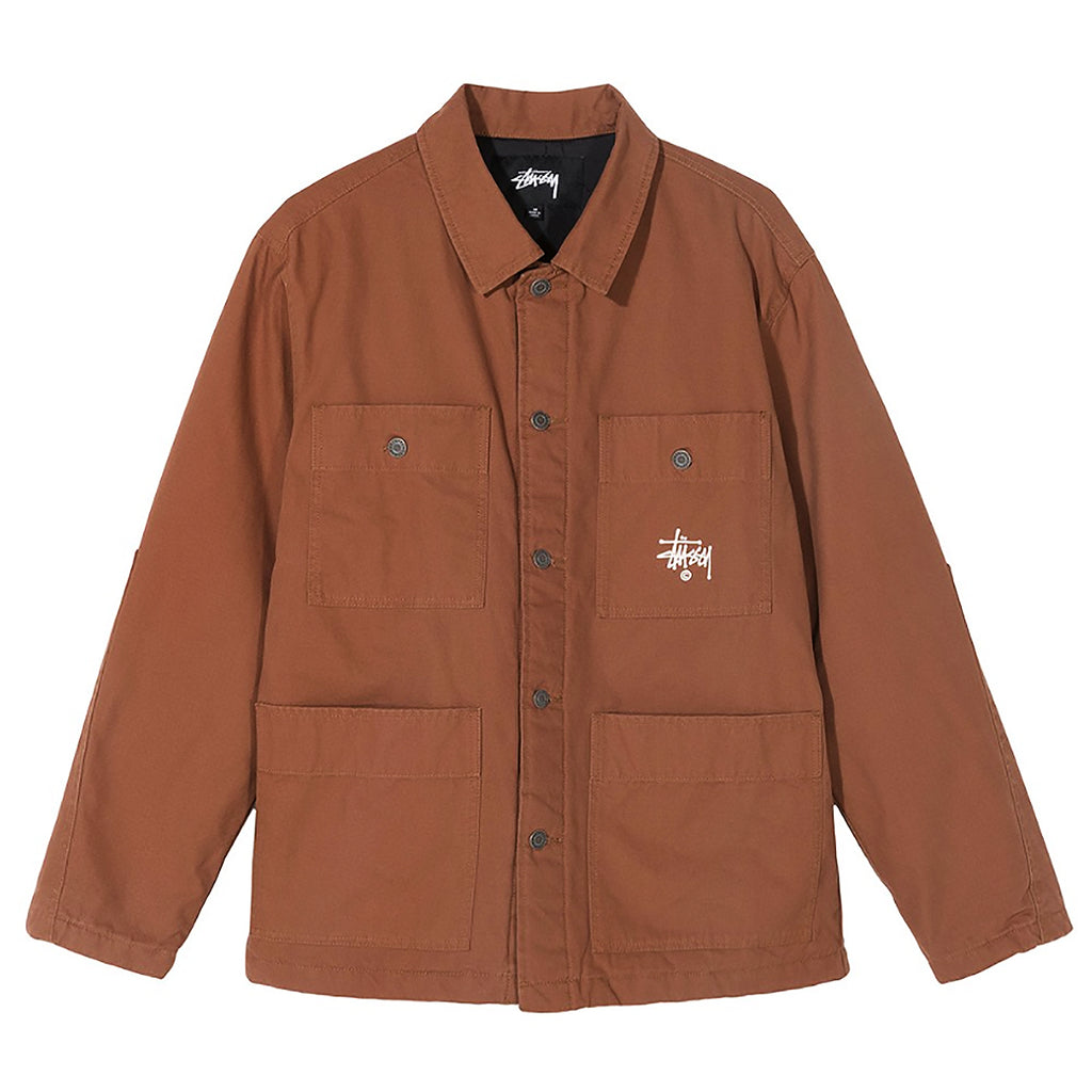 Stussy Quilted Chore Coat in Brown