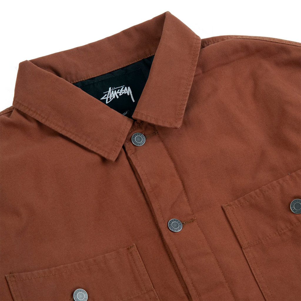Stussy Quilted Chore Coat in Brown - Detail