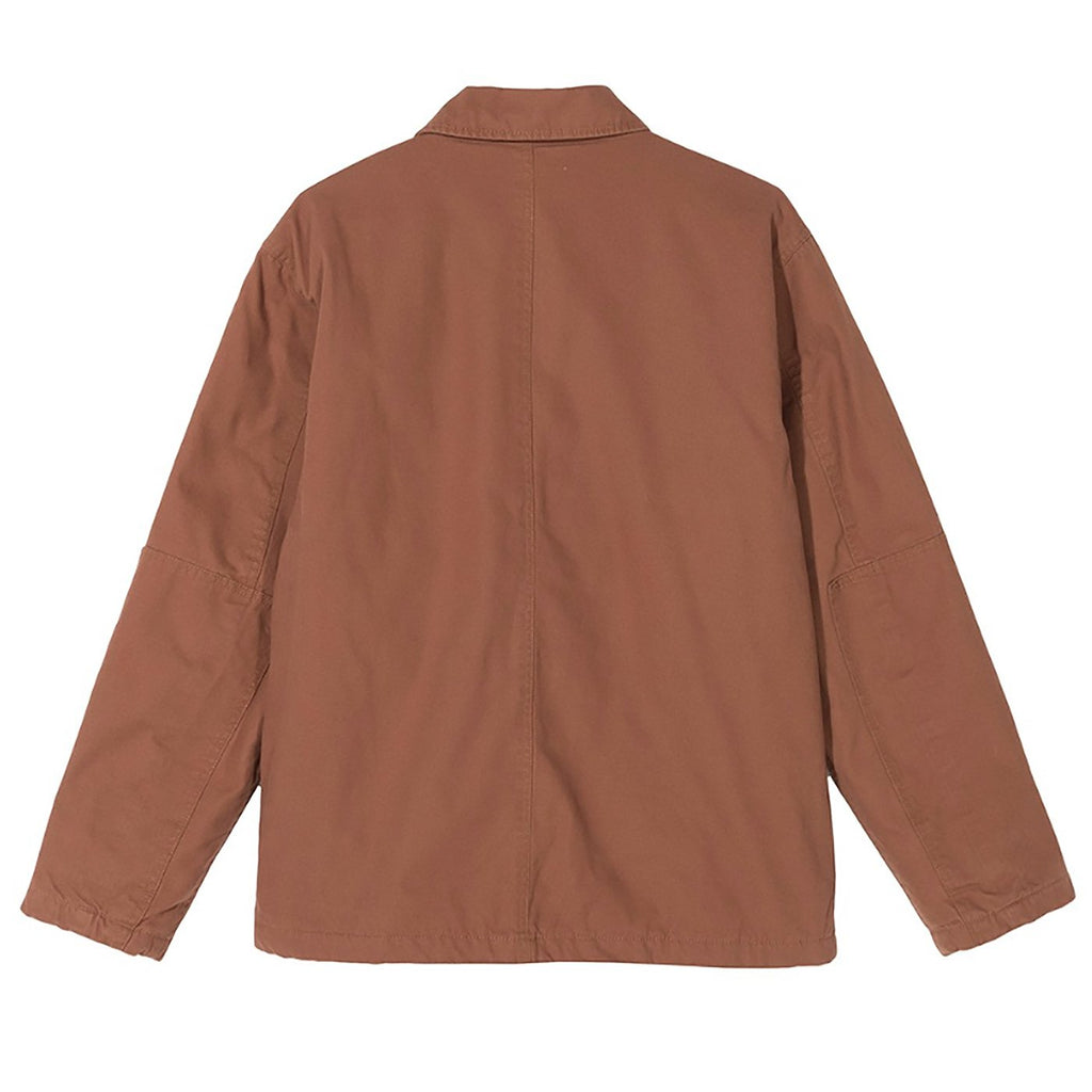 Stussy Quilted Chore Coat in Brown - Back