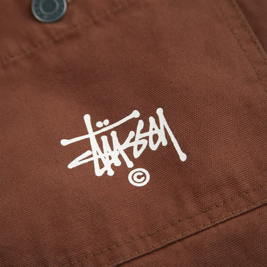 Stussy Quilted Chore Coat in Brown - Logo