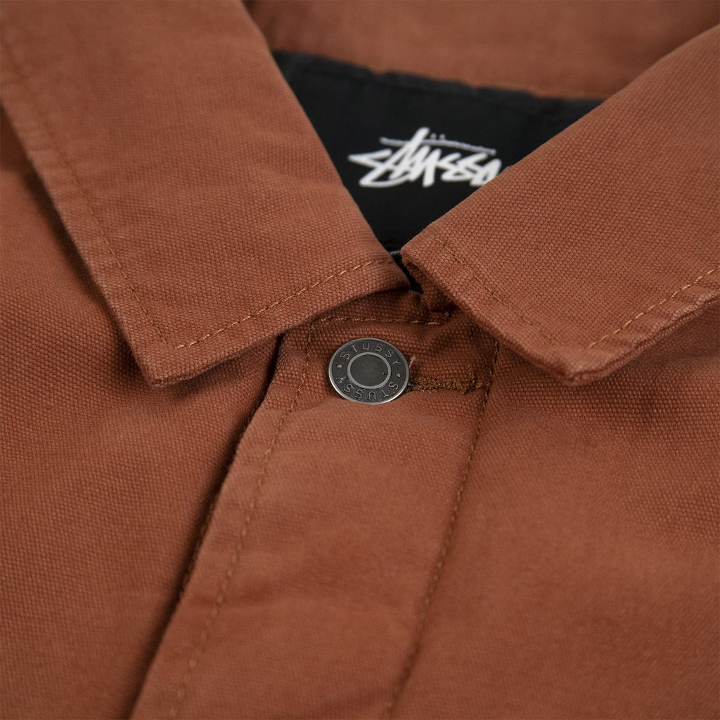 Stussy Quilted Chore Coat in Brown - Collar