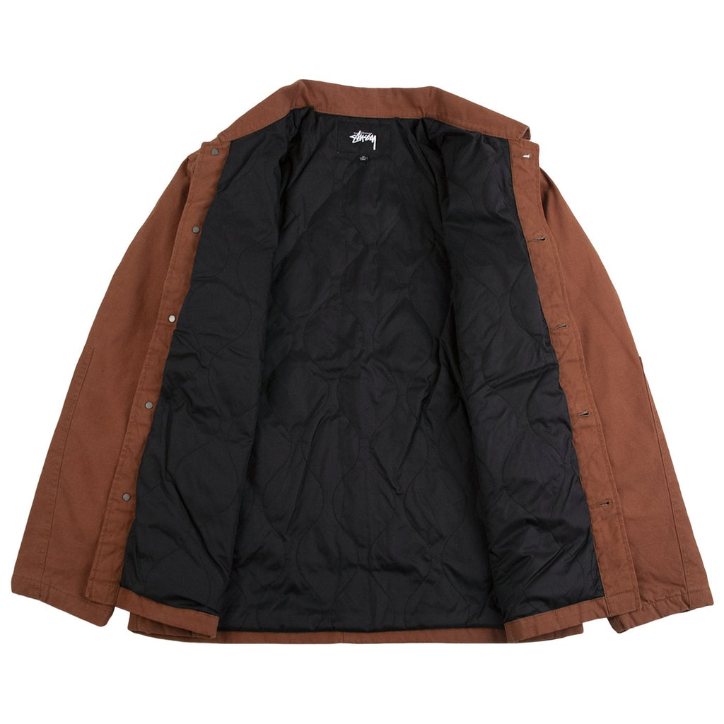 Stussy Quilted Chore Coat in Brown - Open
