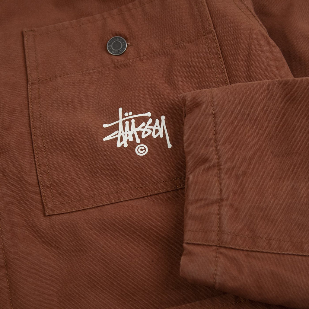 Stussy Quilted Chore Coat in Brown - Cuff