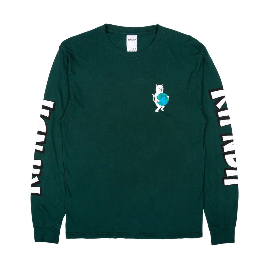 RIPNDIP L/S Fuck Everything T Shirt in Hunter Green - Front