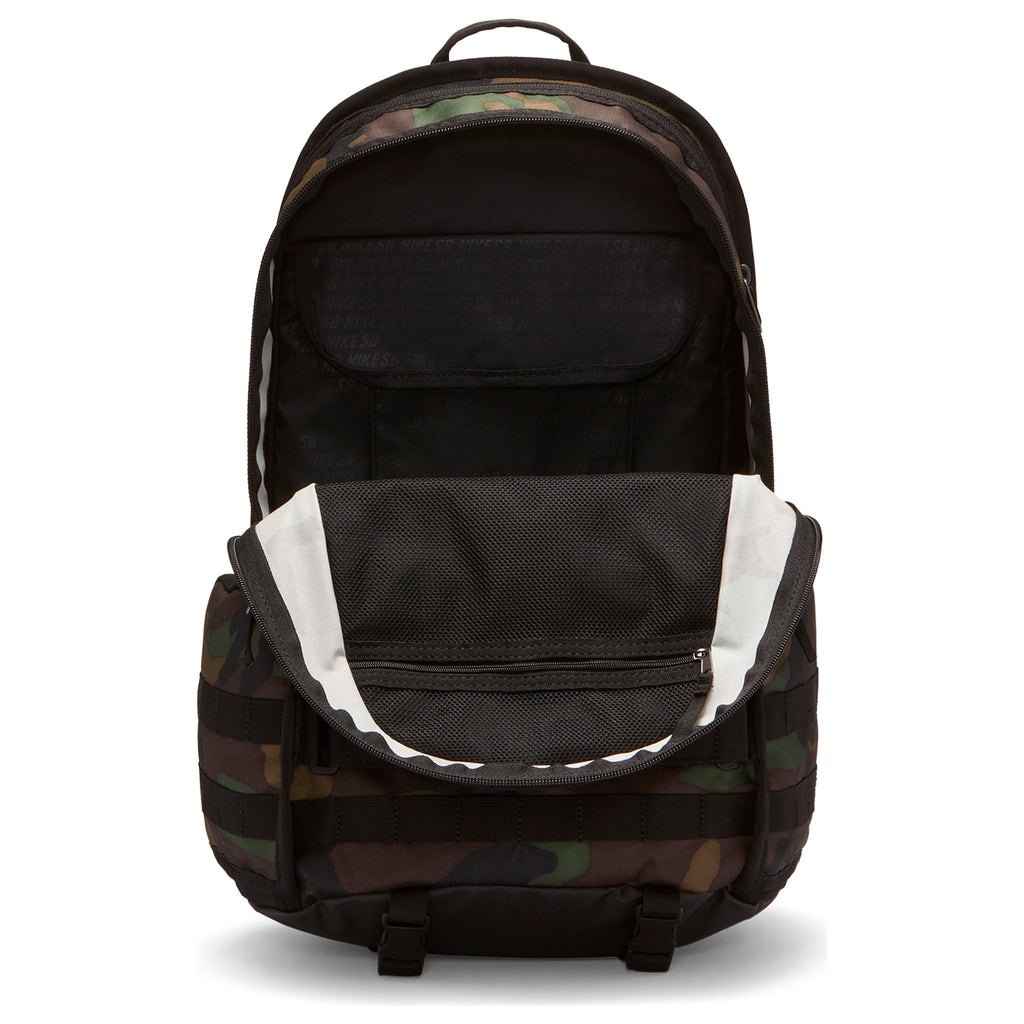 Nike SB RPM Graphic Backpack in Black / Black / Black - Unzipped