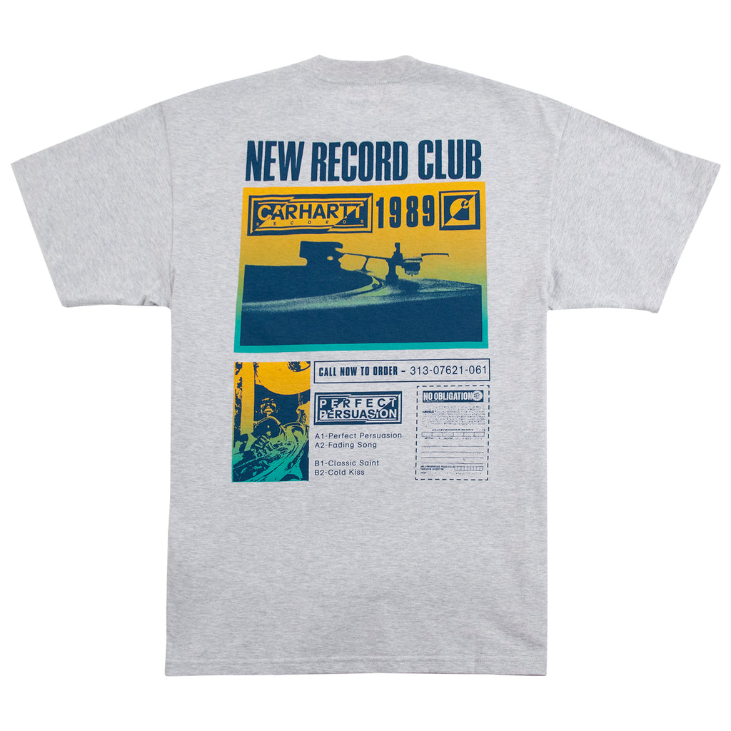 Carhartt WIP Record Club T Shirt in Ash Heather - Back