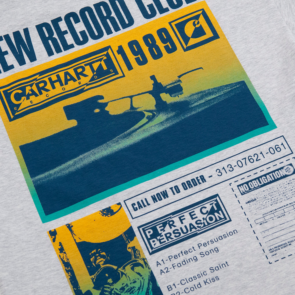 Carhartt WIP Record Club T Shirt in Ash Heather - Back 2