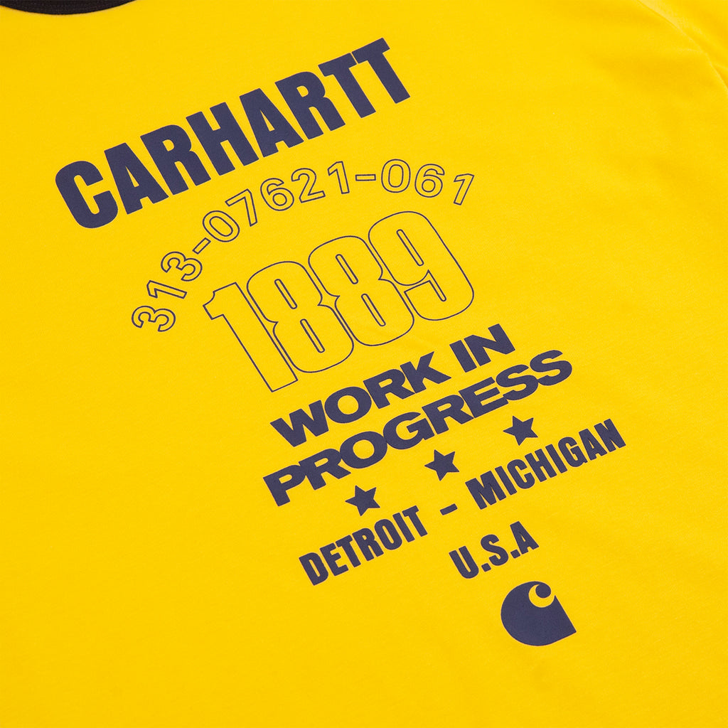 Carhartt WIP Ringer 1889 T Shirt in Sunflower / Dark Navy - Print