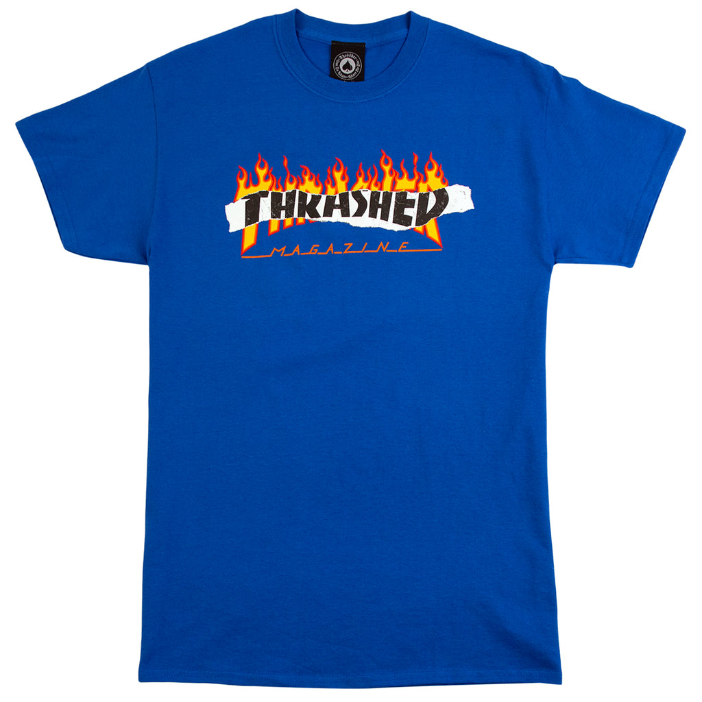 Thrasher Ripped T Shirt in Royal Blue