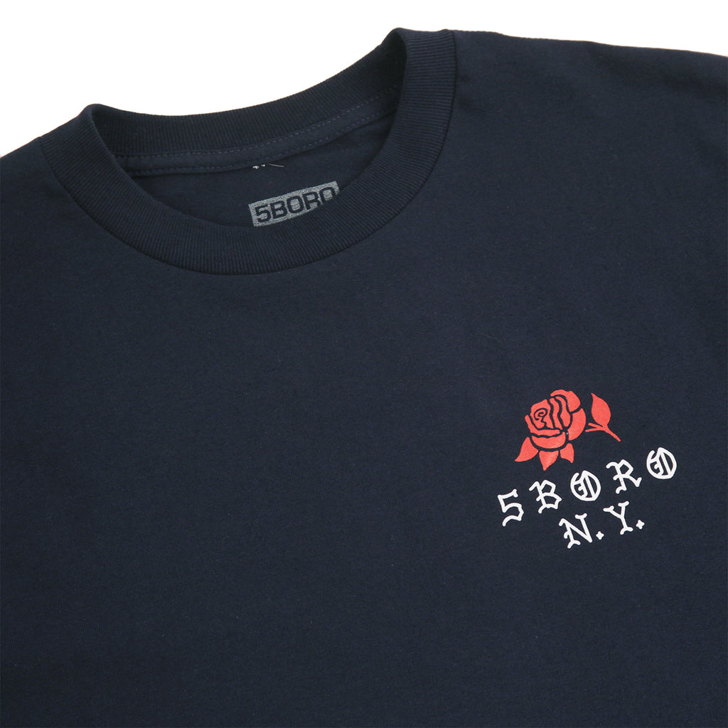 5Boro Rose T Shirt in Navy - Front detail