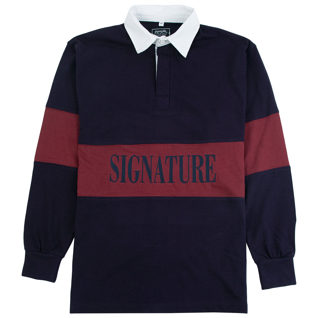 Signature Clothing Nevermind Rugby Shirt in Navy / Burgundy