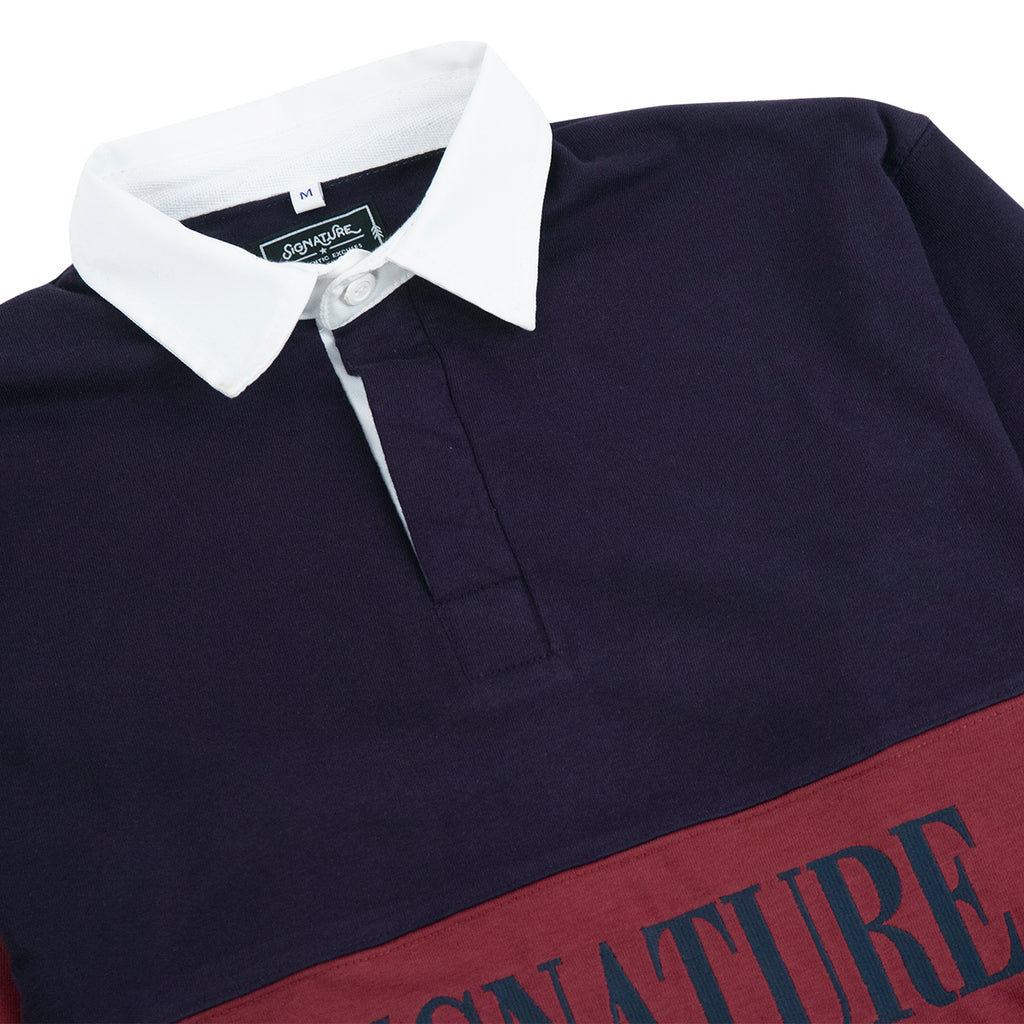 Signature Clothing Nevermind Rugby Shirt in Navy / Burgundy - Detail