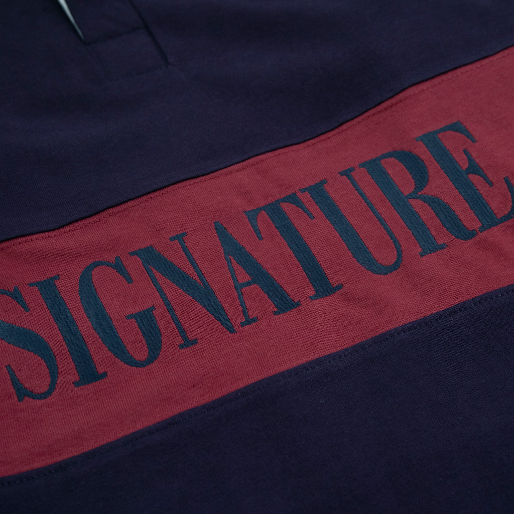 Signature Clothing Nevermind Rugby Shirt in Navy / Burgundy - Embroidery