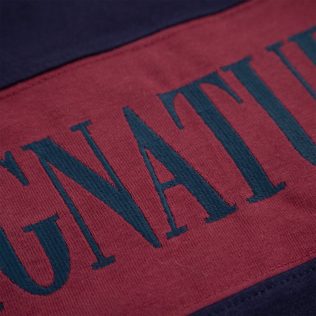 Signature Clothing Nevermind Rugby Shirt in Navy / Burgundy - Embroidery detail